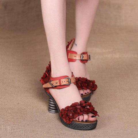 Floral Retro Genuine Leather Platform Heels