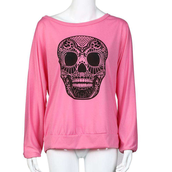 Casual Skull Printing Off The Shoulder Long-Sleeved T Shirt