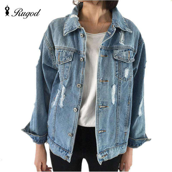 Denim Wide Waisted Long Sleeve Turn Down Collar Jeans Jacket