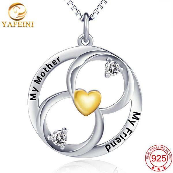 Fine Jewelry Gold Heart Pendant Necklace With Crystaly Letter Nacklace