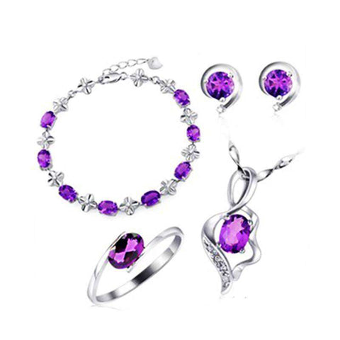 Elegant Beautiful Amethyst Jewelry Earrings Necklace Purple