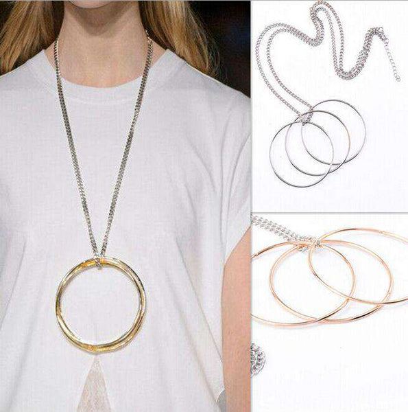 Three Oversized Rings Shades Of Pale-Gold, Silver Necklace