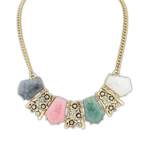 Gemstone Flower Clavicle Gold Chain Bib Necklace