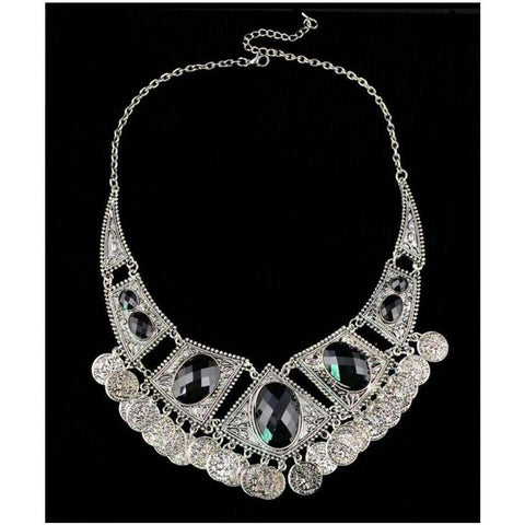 Black Stone Coins Pendant Statement Bib Necklace For Women