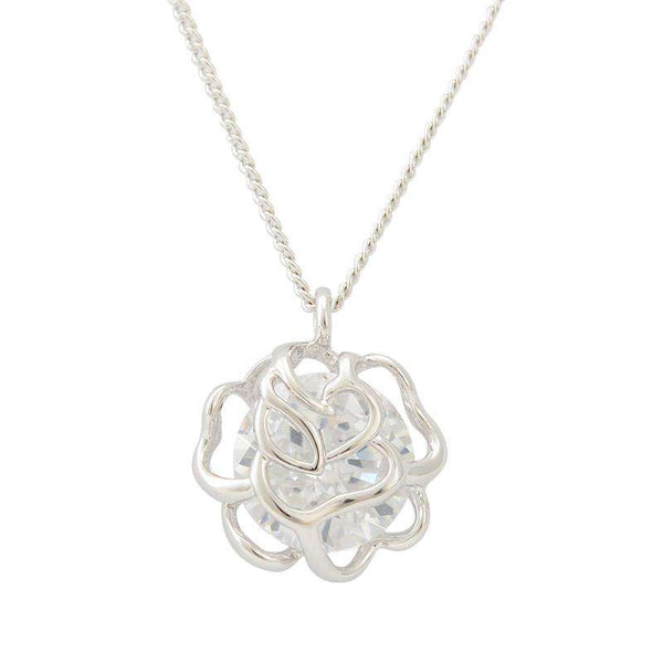 Silver Plated Hollow Flower Fashion Crystal Brand Party/Wedding Necklace