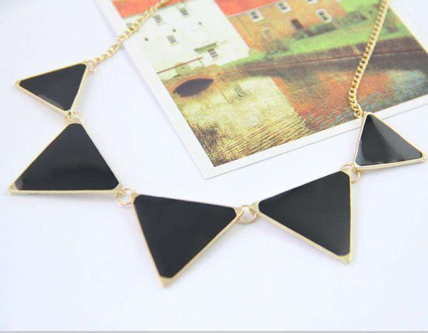 Black Choker Triangle Statement Necklace