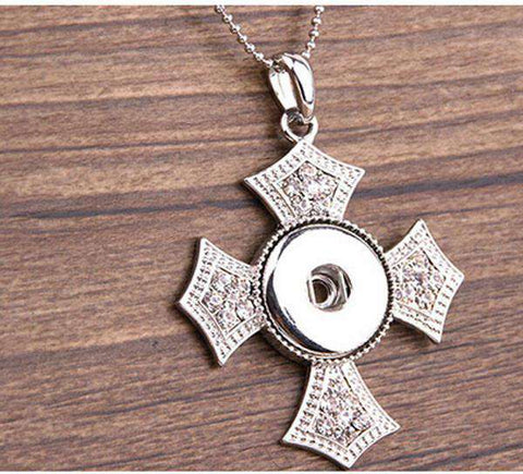 Crystal Cross Lock Snap Button Pendant Women Necklace