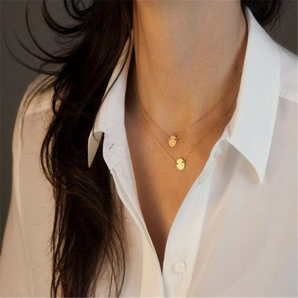 Vintage Style Light Wafer Multilayer Gold Necklace
