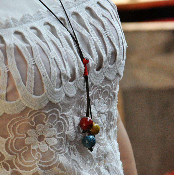 Chinese Folk Style Ceramic Flower Glaze Beads Necklace