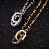 Two Created Diamond Rings Necklace For Women