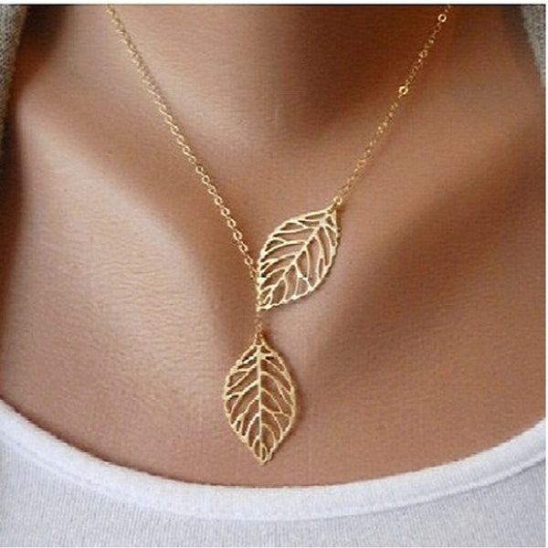 Simple Classic Gold Silver Two Leafs Statment Chain Necklaces