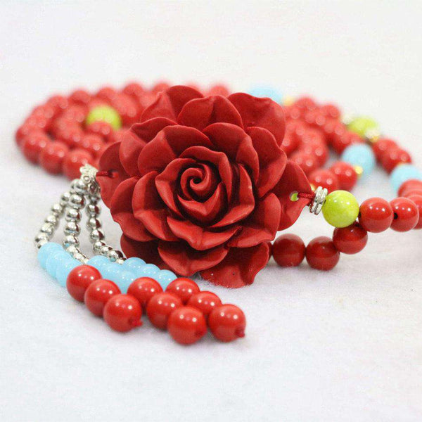 Red Cinnabar 8mm Beads With 18x50mm Flower Pendant Lady Diy Necklace