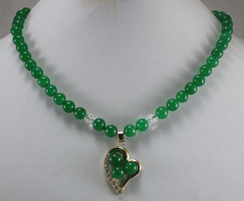 Dark Green jade Necklace & 18kgp Heart
