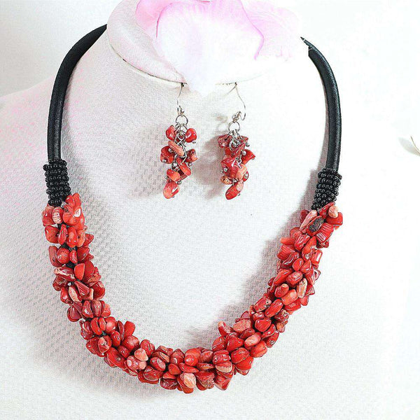 Charming Red Coral 9x11mm Irregular Gravel Chips Beads Necklace