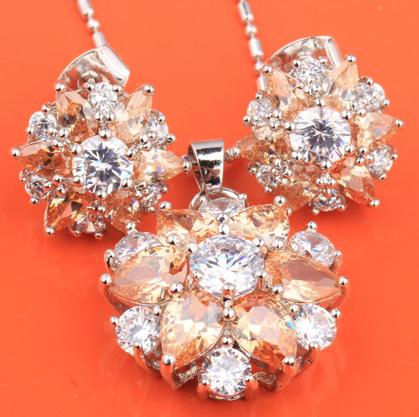 Flowers Orange Champagne 925 Sterling Silver Pendant and Earring
