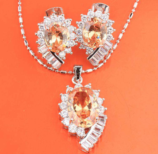 Oval Champagne Morganite Silver Necklace  Earrings