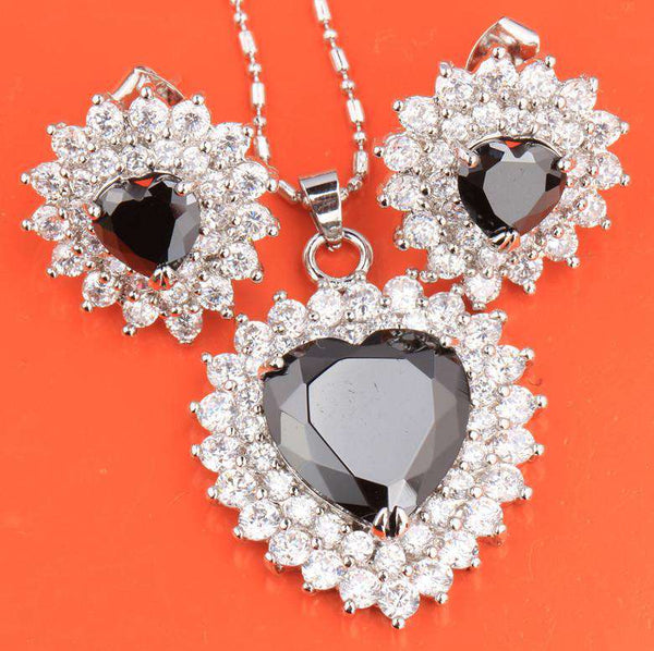 Perfect Black White Fashion Silver Sets Earrings Pendant Women