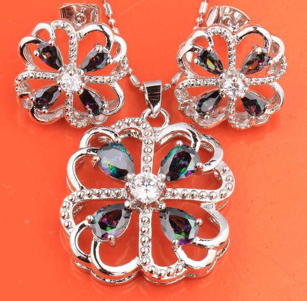 Leaf Clover Morganite Mystic Rainbow Fashion Silver Nacklace
