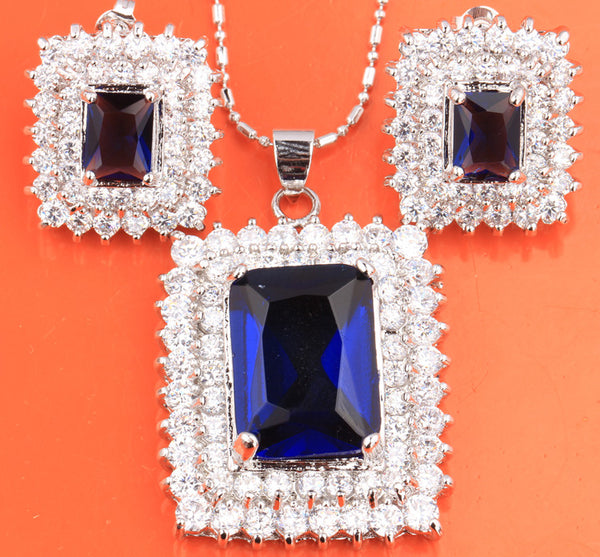 Superb Rectangle Blue Fashion Silver Nacklace Jewelry Sets