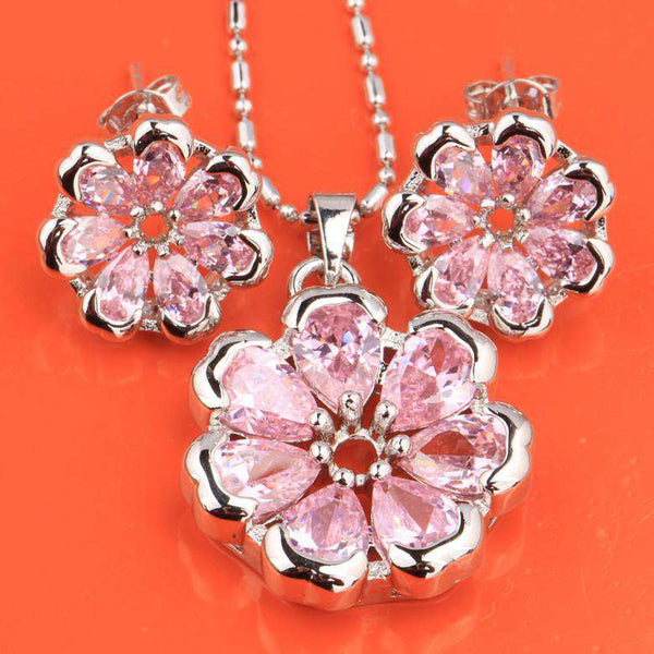 Flowers Pink White Fashion Silver Jewelry Sets Earrings Necklace