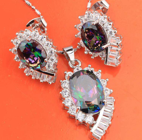 Oval Mystic Rainbow Fashion Silver Nacklace Jewelry Sets Earrings Pendant
