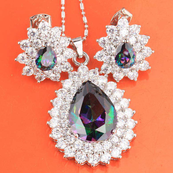 Preferentia Costly Pear Glamorous Rainbow Mystic White Fashion Silver Set