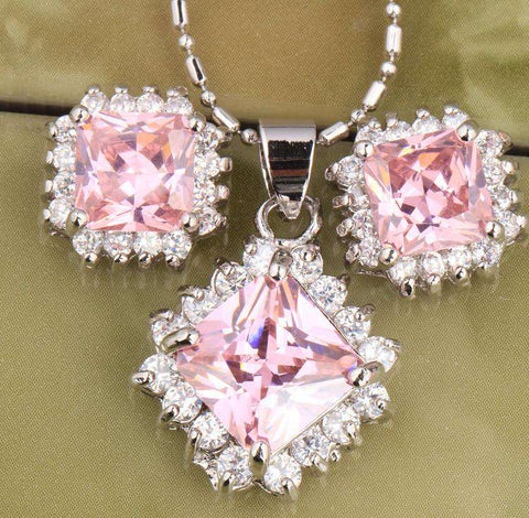 Archaize Square Pink Sterling Silver Jewelry Set