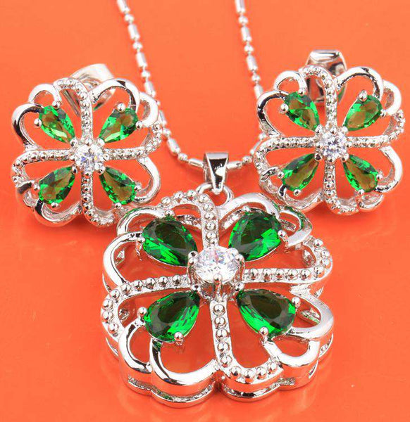 Fascinating Four Leaf Clover Green Stones Hot White Fashion Silver Nacklace