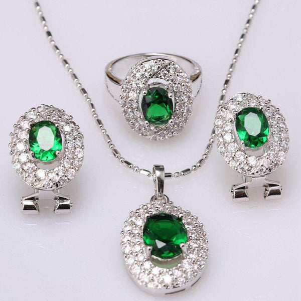 Direct Selling Oval Green Stones Fashion Silver Jewelry Sets