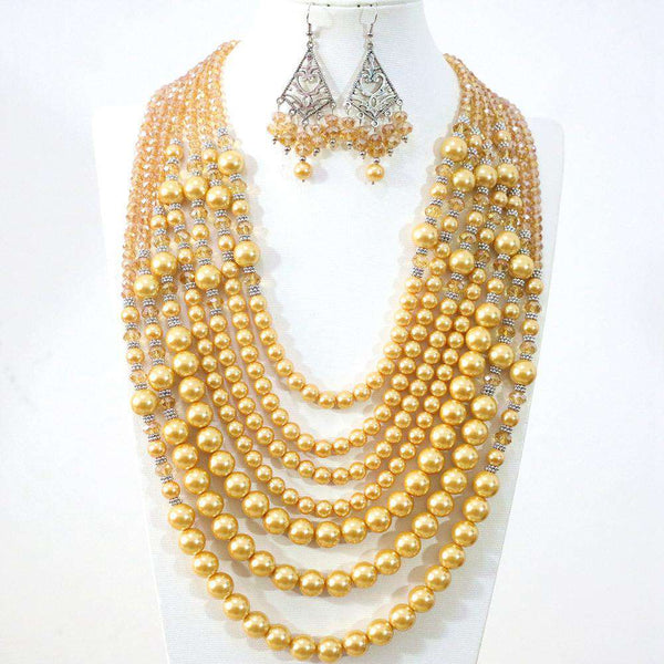 necklace earrings round imitation pearl crystal beads