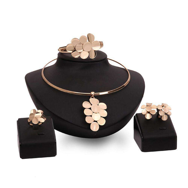 Necklace Bangle Flower Stud Earrings 4 Pieces Gold Plated