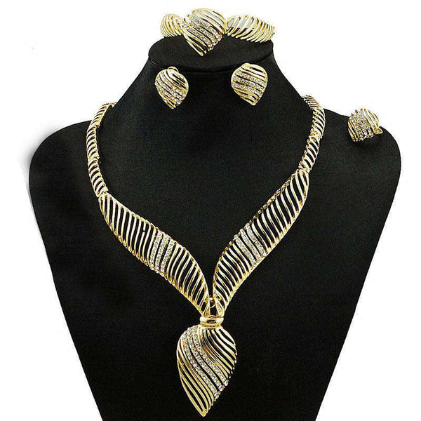 High Quality Wedding Party Jewelry Set Gold