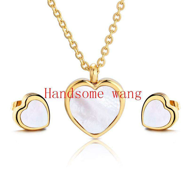 Stainless Steel Cute Shell Heart Pendant&Earring Nacklace