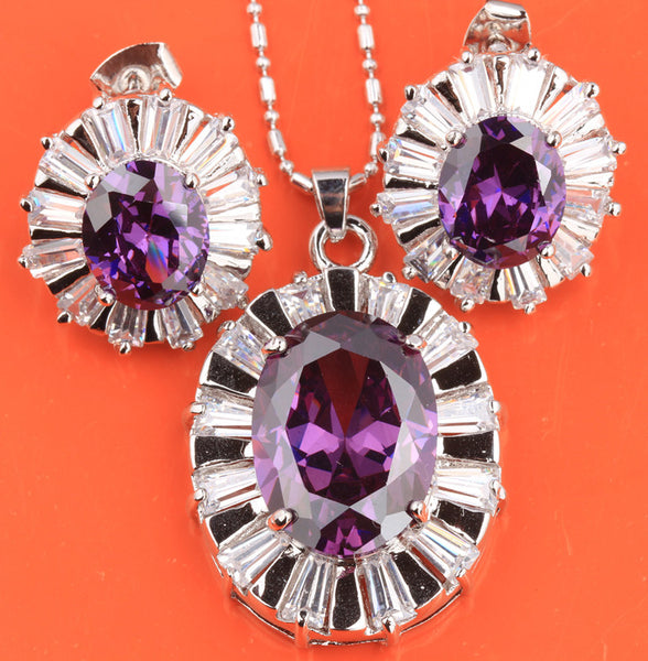 Oval Purple Amethyst Sterling Silver Fashion Jewelry