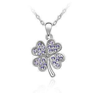 Four Leaf Clover Design Crystal Necklace