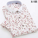 Men's Casual Short Sleeve Square Collar Printed Shirt