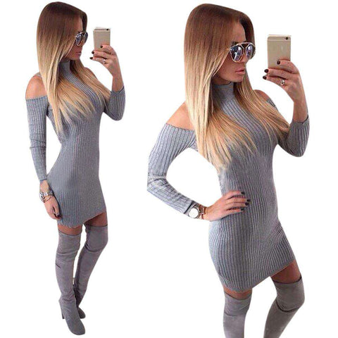 Club Dress 2017 Off Shoulder Strapless Long Sleeve Knitted