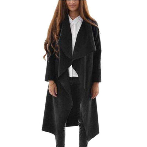 Cotton-Padded V Neck Open Stitch Draped Long Cardigan