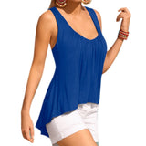 Women Tank Tops Pleated V Neck Sleeveless Shirt Clothing