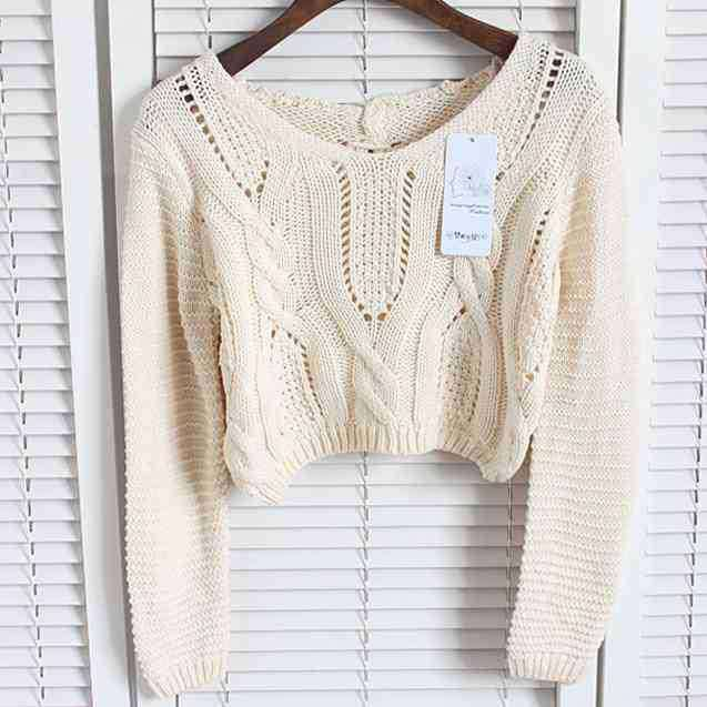 596d2963f2 Lace Up Hollow Out Back Knit Sweater Crop Top Long Sleeve Women ...
