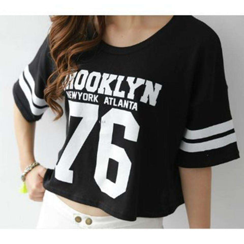Cropped Top Women's Short Sleeve Letter print Loose T-shirt