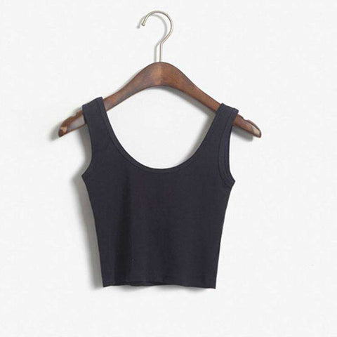 Cotton Sleeveless Casual Crop Top Solid  O-Neck