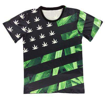 Men 3D T Shirt Print Weed Leaf Floral