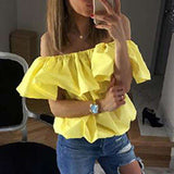 Ruffles Off Shoulder Women Blouse Candy Color
