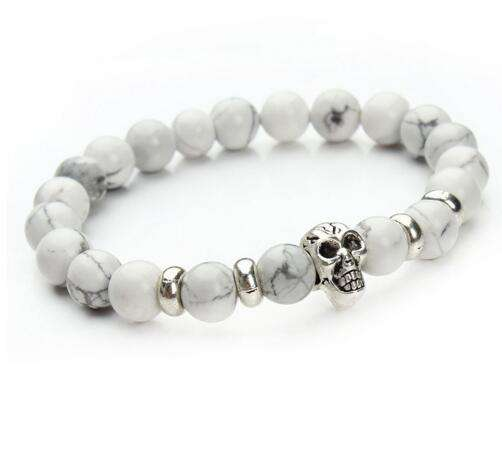 Womens Bracelet White  Lava Stone Beaded