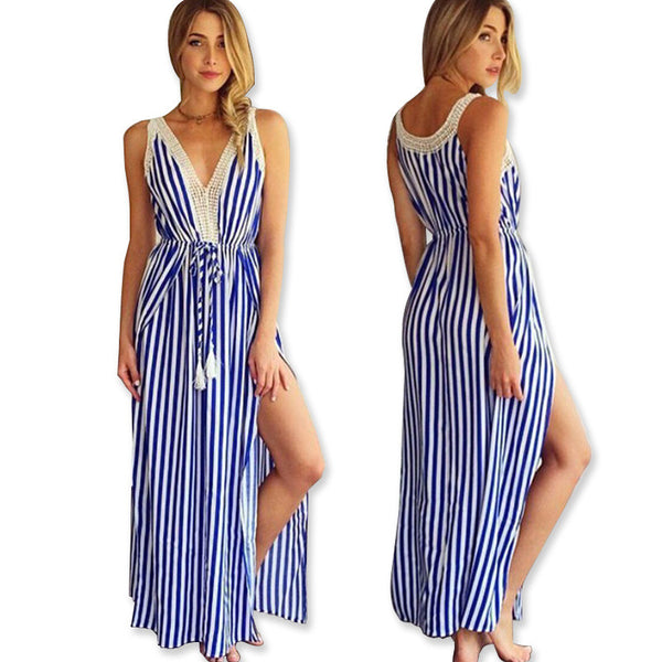 V Neck Women Striped Dress Off Shoulder Sleeveless Beach Casual Party