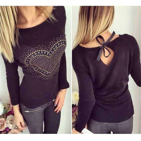 Off Shoulder Heart Pattern Back Bow Hollow Pullovers