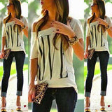 Casual Off Shoulder LOVE Letter Print Loose Top White