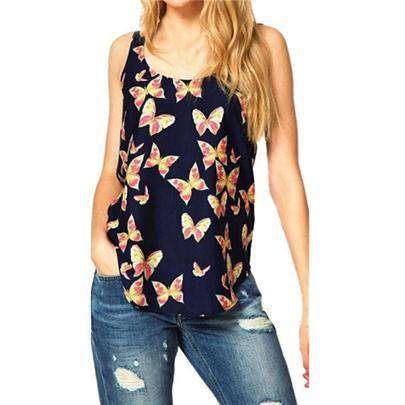 Butterfly Print Round Neck Sleeveless Blouse