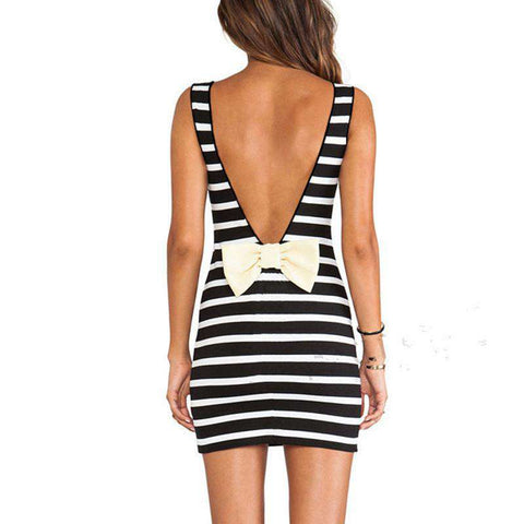 Backless Stripe off shoulder Bodycon